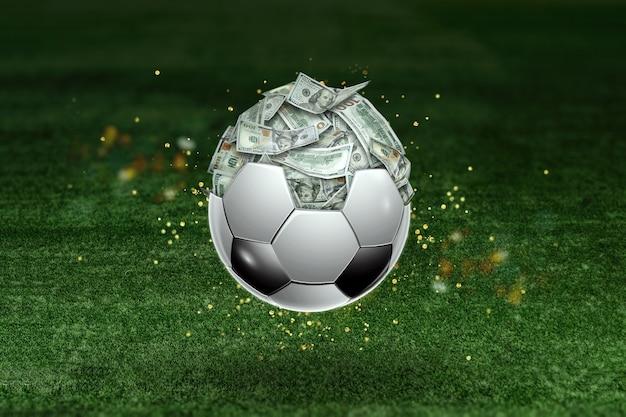 I dollari sono dentro il pallone da calcio, il pallone è pieno di soldi. scommesse sportive, scommesse sul calcio, gioco d'azzardo, bookmaker, grande vittoria.