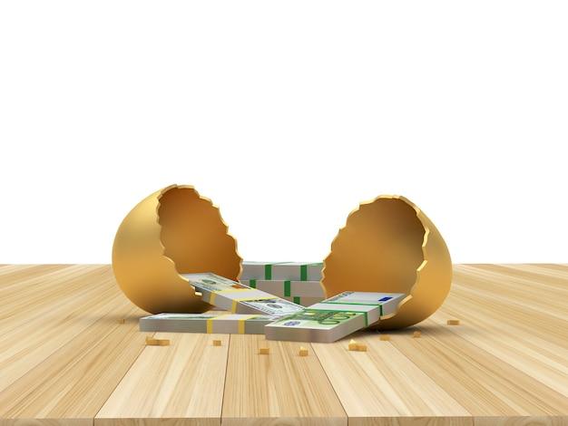 Dollari e banconote in euro in un uovo rotto d'oro su un legno