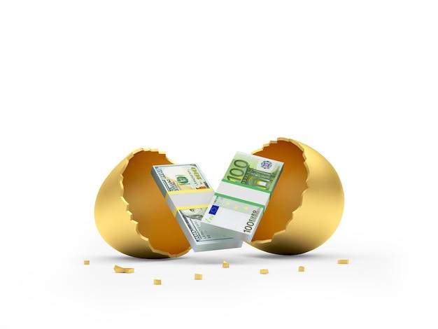 Dollari e banconote in euro in un uovo rotto d'oro