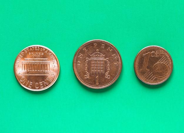 Dollari, euro e sterline - 1 cent, 1 penny