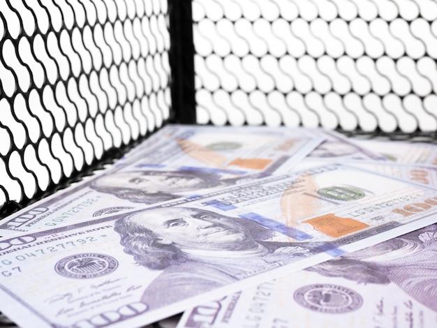 Dollari di denaro in una trappola per topi su sfondo bianco