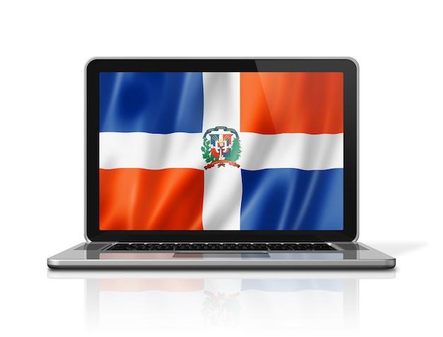 Bandiera della repubblica dominicana sullo schermo del computer portatile isolato su bianco. rendering di illustrazione 3d.