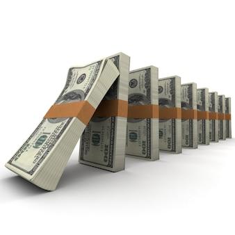 Effetto domino con pile di banconote da cento dollari