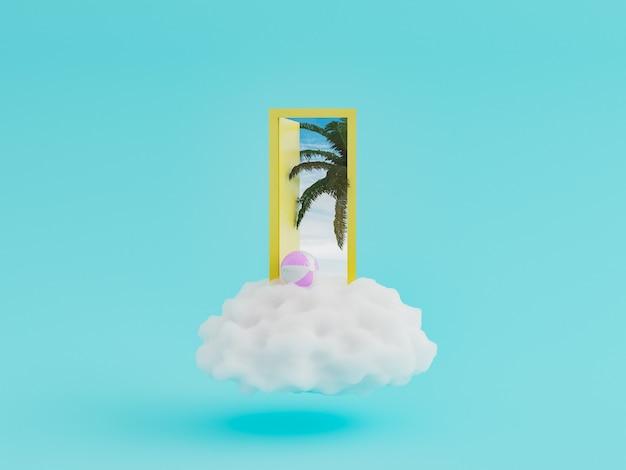 Porta su una nuvola con palma Foto Premium