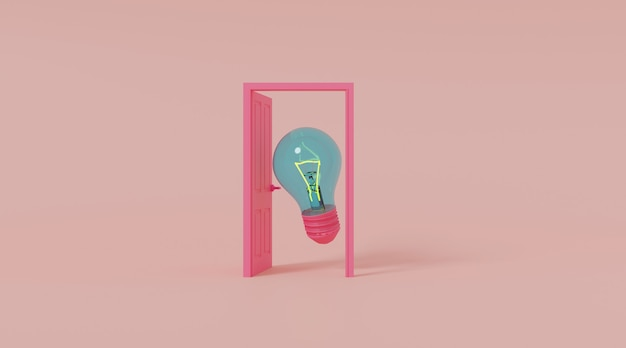 Porta aperta con lampadina.