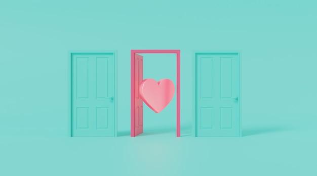 Porta aperta a forma di cuore.