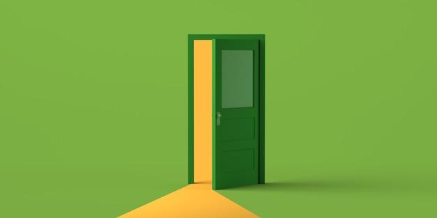 Apertura della porta con luce su sfondo verde. copia spazio. illustrazione 3d.