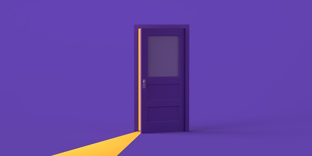 Apertura della porta con luce su sfondo viola. copia spazio. illustrazione 3d.