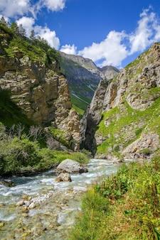 Fiume doron nella valle alpina del parco nazionale della vanoise, savoie, alpi francesi