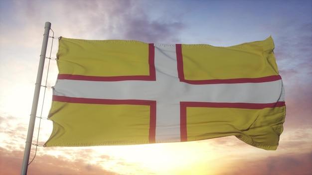 Bandiera del dorset, inghilterra, che fluttua nel vento, nel cielo e nello sfondo del sole. rendering 3d
