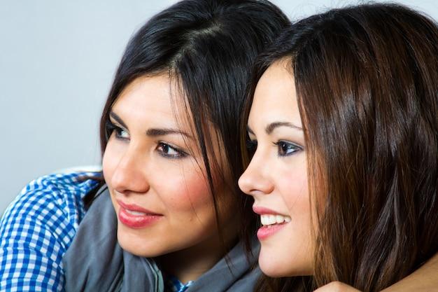 Dos chica alegria retrato felicidad