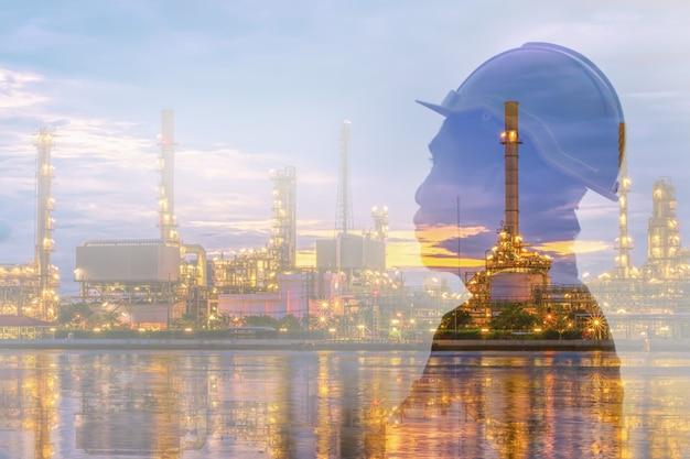 Doppia esposizione di ingegnere e raffineria