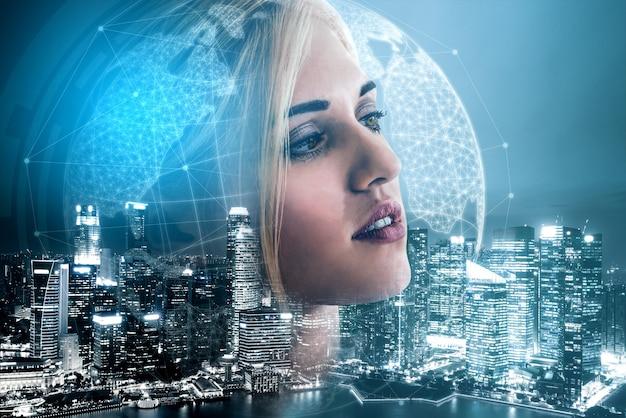 Immagine a doppia esposizione dell'uomo d'affari sullo sfondo della città moderna