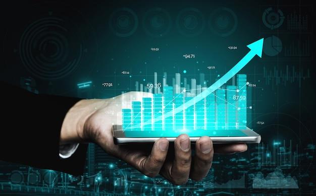 Immagine a doppia esposizione della crescita del profitto aziendale