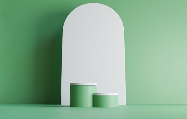 Doppio podio cilindrico verde con design minimale della parete rotonda bianca su sfondo verde per l'esposizione sul palco del prodotto ecologico mediante tecnica di rendering 3d.