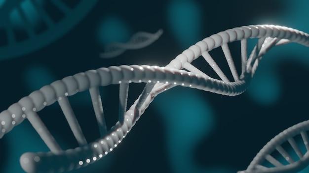 La doppia struttura elicoidale del dna 3d rende il fondo medico astratto con il filo del dna