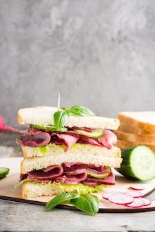 Doppio panino con pastrami, cetriolo, ravanello e basilico su un tagliere. spuntino americano. stile rustico.