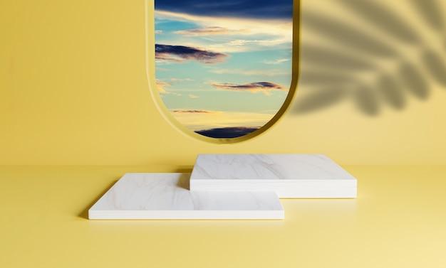 Doppio podio in marmo quadrato con scena minima del cielo di nuvole blu dalla finestra del cerchio e palma lascia ombra sulla parete arancione per la visualizzazione sul palco del prodotto estivo mediante tecnica di rendering 3d.