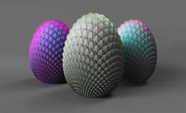 Le uova di drago 3d rendono su uno sfondo grigio, 3 uova di draghi non ancora nati