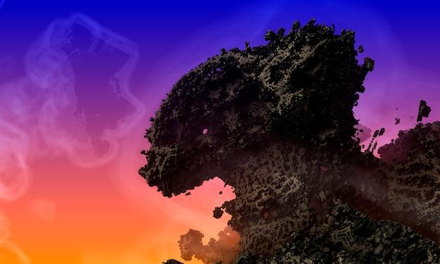 Montagna del drago e lo spirito dell'aria. paesaggio extraterrestre mozzafiato. un'enorme catena montuosa sullo sfondo di un cielo arancione e blu marino. paesaggio fantastico. rappresentazione 3d.