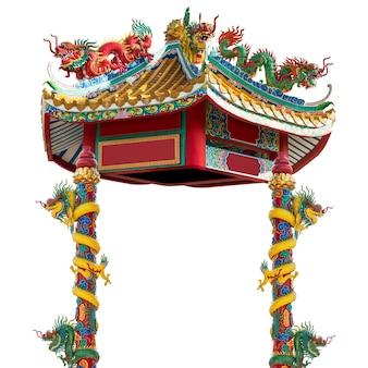 Padiglione del drago in stile cinese isolato su bianco