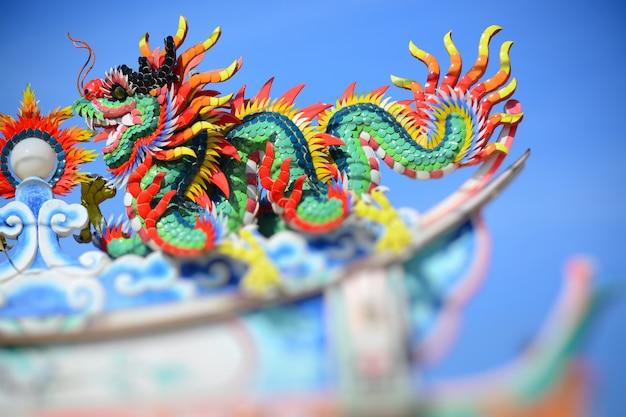 La statua del drago in cinese crede in tempio