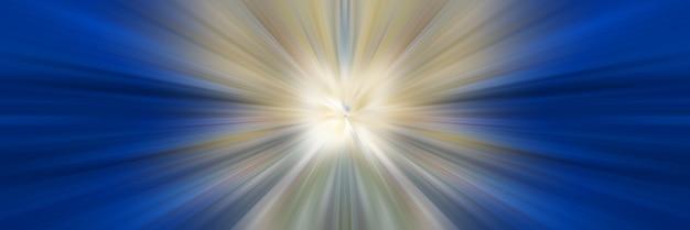 Linee di prospettiva della luce bianca e blu del drago focalizzate sul punto centrale