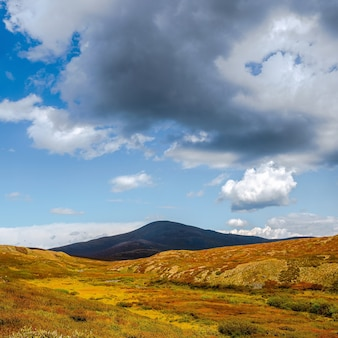 Drammatico paesaggio autunnale con montagna nera sotto il sole dorato. splendido scenario di montagna con altopiano autunnale dorato illuminato dal sole e grande nuvola scura. vista colorata di montagne e nuvole nel cielo blu.