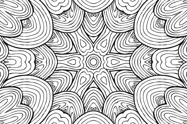 Disegno da colorare antistress, disegno floreale simmetrico in bianco e nero. sfondo floreale monocromatico. ornamento disegnato a mano con fiori, rilassante libro da colorare. riccioli mandala disegno meditativo