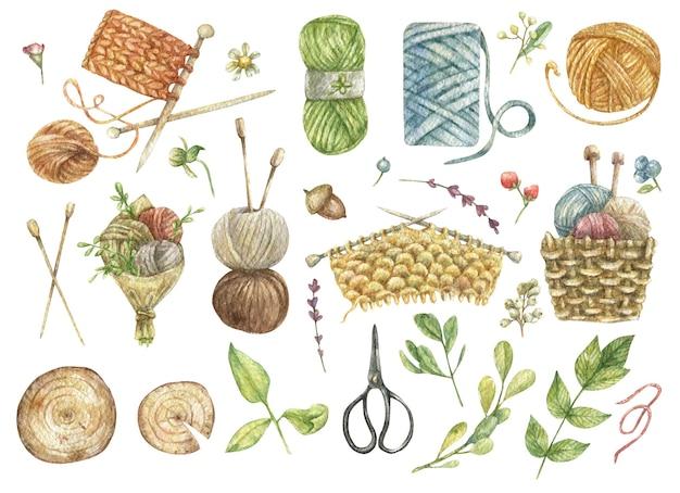 Un insieme disegnato di elementi di cucito a maglia un gomitolo di filo ferri da maglia filato fiori erbe un cesto di filato un mazzo di fili forbici tagli di legno