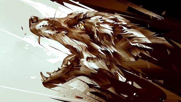 Volpi animali vividi disegnati. ritratto laterale con sfondo astratto