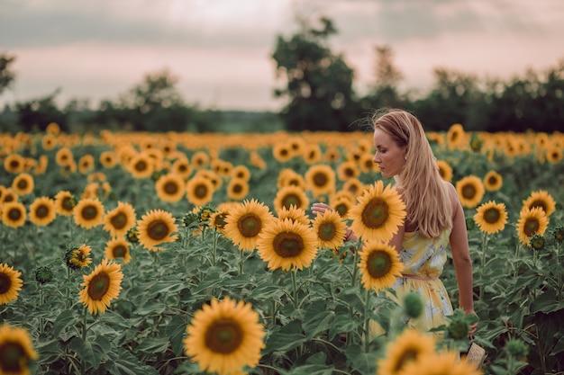 Sognando la giovane donna in abito giallo che tiene i fiori con le mani in un campo di girasoli in estate, vista dalla schiena. guardando di lato. copia spazio