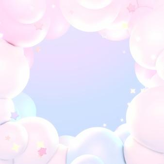 Nuvole pastello da sogno e stelle 3d hanno reso l'immagine Foto Premium