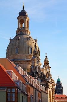 Dresda, germania - la dresdner frauenkirche, chiesa luterana