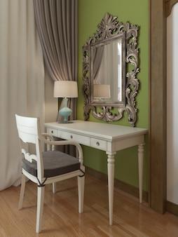 Toilette con specchio in camera da letto, design mediorientale. rendering 3d