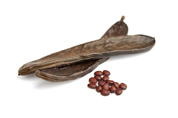 Baccelli secchi dell'albero di carruba con semi isolati su bianco
