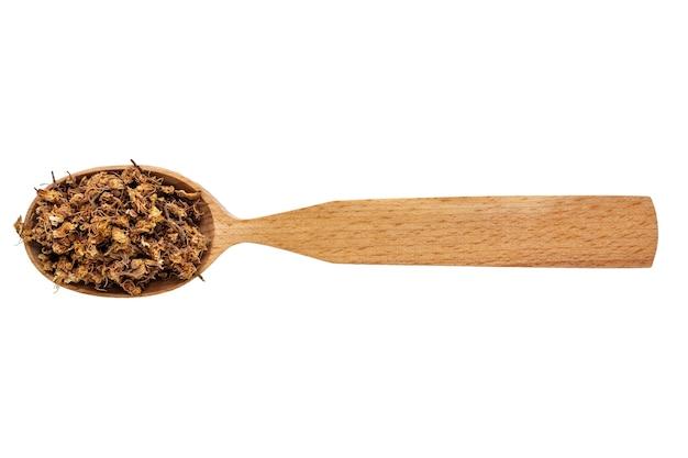 Fiori secchi di castanea in un cucchiaio di legno isolato