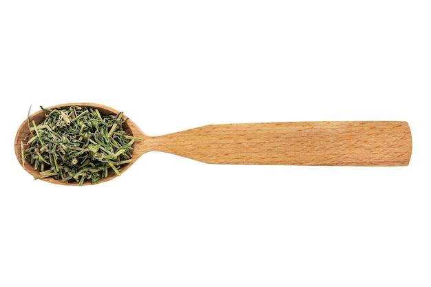 Hyssopus essiccato in un cucchiaio di legno isolato