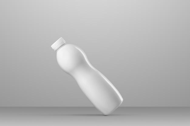Bere la serie di mockup di imballaggio. bottiglia di plastica curva vuota con riflessi e ombre su uno sfondo grigio per studio. posizionamento diagonale. modello pronto per l'uso nel tuo design