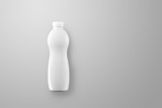 Bere la serie di mockup di imballaggio. bottiglia di plastica curva vuota con riflessi e ombre su uno sfondo grigio per studio. vista dall'alto. modello pronto per l'uso nel tuo design.