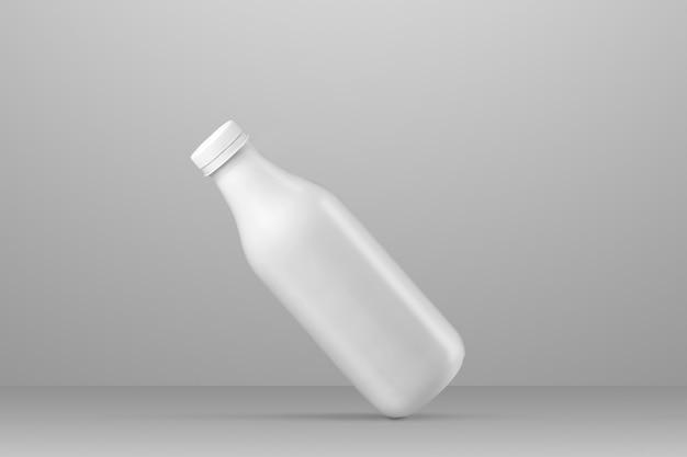 Bere la serie di mockup di imballaggio. bottiglia di plastica bianca con riflessi e ombre su uno sfondo grigio per studio. posizionamento diagonale. modello pronto per l'uso nel tuo design