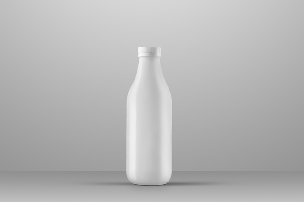 Bere la serie di mockup di imballaggio. bottiglia di plastica bianca con riflessi e ombre su uno sfondo grigio per studio. posizionamento frontale. modello pronto per l'uso nel tuo design