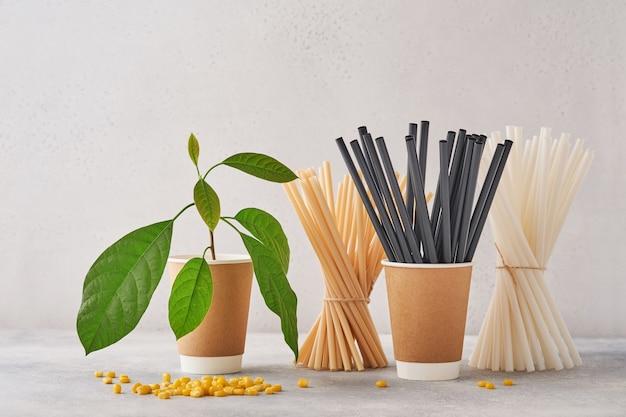 Tubi per bere in carta e amido di mais, materiale biodegradabile e bicchieri in carta ecologica