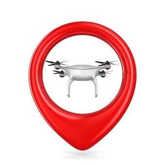 Drone in puntatore su bianco. illustrazione 3d isolata