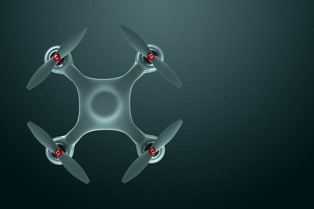 Drone, quadrocopter bianco su uno sfondo scuro con spazio di copia