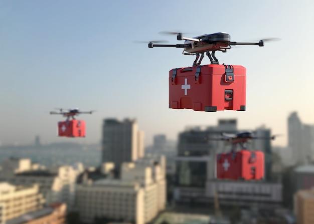 I droni trasportano il vaccino covid-19 in città. illustrazione 3d
