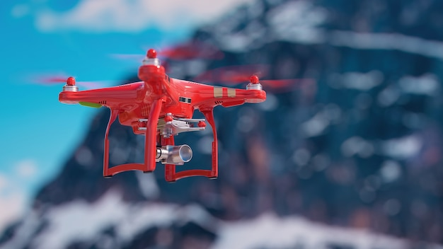 Droni che volano in aria. rendering 3d e illustrazione.