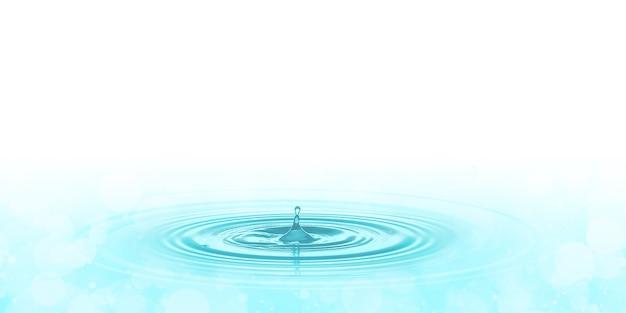 Una goccia d'acqua blu sulla superficie dell'illustrazione 3d dell'acqua