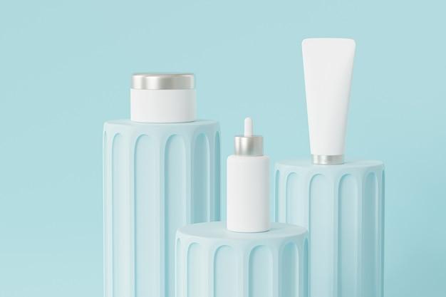 Flacone con contagocce, tubo per lozione e vasetto per crema per la pubblicità sui podi blu