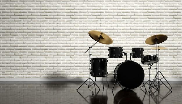 Drum kit su un bellissimo sfondo beige, 3d'illustrazione